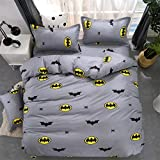 DUOAIQI Algodón murciélago Estudiante de Dibujos Animados Individual Dormitorio Colcha edredón sábanas Juego de Cama de Cuatro