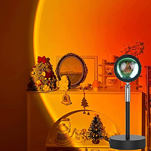 Sunset Projection Lamp,180 Degree Rotation Rainbow Projection Lamp USB Charging LED Lighting, Romantic Sunset Lamp for Self-Media Light, Romantic Family Atmosphere Light for Adults, Couples, Bedroom