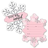 Big Dot of Happiness Pink Winter Wonderland - Shaped Fill-in Invitations - Holiday Snowflake Birthday Party or Baby Shower Invitation Cards with Envelopes - Set of 12