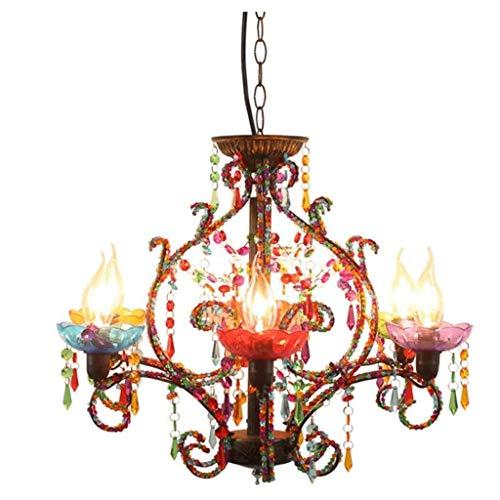 SPNEC De Estilo Europeo de Lujo Retro de Color con Cuentas de múltiples Cabezales arañas con Velas Villa Hotel Exquisito Decorativos