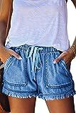 YOCUR Short Jeans Cute Jeans for Teens Trendy Tassel Casual Vintage Hot Pants Loose Aesthetic Distressed Shorts Elastic Waist Kawaii Denim Shorts Dark Blue XL