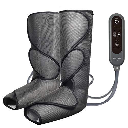 FIT KING Massaggiatore Gambe, Compressione Massaggiatore per Gambe 2 Modalità 3 Intensità per Circolazione e Rilassamento, Pressoterapia per Casa Massaggiatore Piedi e Gambe (Grigio Scuro)