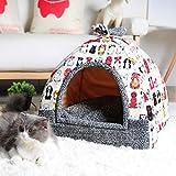 AMURAO Invierno Soft Pet Home Indoor Puppy Kennel Sleeping Bed para Perro Gato Casa de Animales pequeños con colchoneta Chihuahua