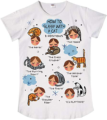 Relevant Nightshirt Says How to Sleep with a Cat,ONESIZE, White, Medium