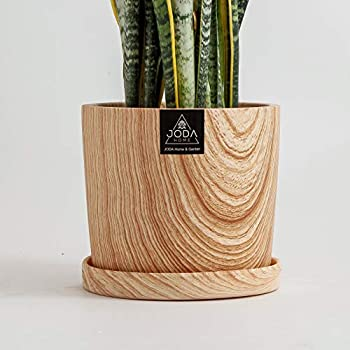 JODA 9 Inch Ceramic Plant Pot with Detached Saucer Modern Plant Pots with Drainage Hole Ceramic Pots for Plants Ceramic Pot with Matching Saucer and Drainage Hole  Matte Wood Grain