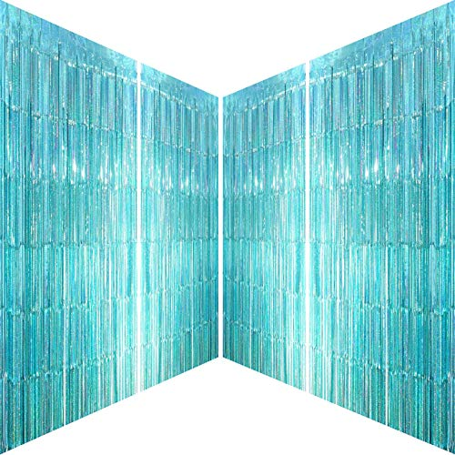 Blue Tinsel Foil Fringe Curtains - Under The Sea Frozen Birthday Baby Shower Photo Backdrops Wedding Christmas Summer Beach Pool Ocean Party Decor Photo Booth Backdrops Decorations, 4pc
