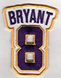 KOBE BRYANT No. 8 Patch - Jersey Number Basketball Sew or Iron-On Embroidered Patch 2 1/2 x 2 3/4'