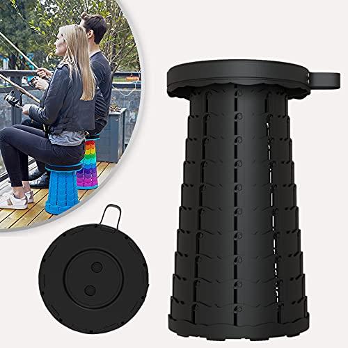 Klapphocker Tragbarer Outdoor Camping Hocker Teleskophocker leicht, stabil und höhenverstellbar Sitzhocker (Schwarz)…