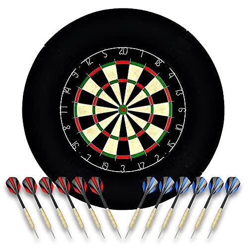 Linkvisions Sisal/Borsten-Dartscheibe mit Stapelfreiem Bullseye, 18 g Stahlspitzen-Dartset, Dartscheiben-Montagesätze inklusiv