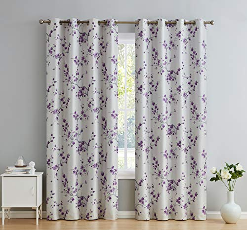 "HLC.ME Jasmine Floral Faux Silk 100% Blackout Room Darkening Thermal Insulated Curtain Grommet Panels For Bedroom - Energy Efficient, Complete Darkness, Noise Reducing - Set of 2 (Purple, 52""W x 96""L)"
