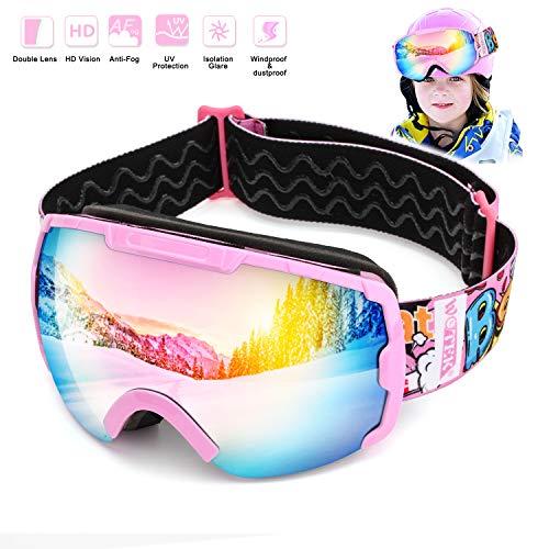 Skibrille Kinder Schutzbrille Schneebrille Kinder Snowboardbrille-Helmkompatible Skibrillen mit OTG und Dual-Layer Linse Technology,UV 400nm,HD-Linsen,UV-Schutz, Sandschutz, Windschutz, Antibeschlag