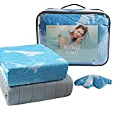 Viviland Weighted Blanket for Adult - 150 x 200 cm, 6.8 KG (60'x80', 15 lbs), Weighted Blanket with Cover Removable, Glass Beads and Eyemask, Queen Size Adult Weighted Blanket, Grey