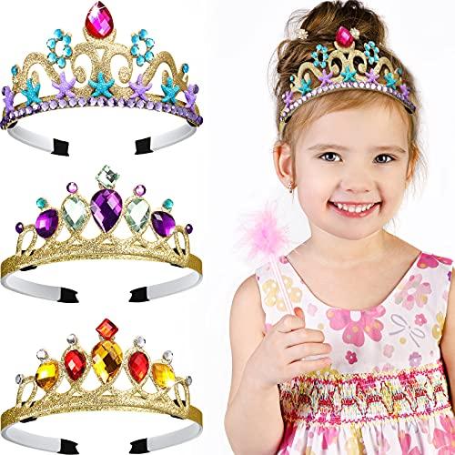 3 Stücke Prinzessin Ankleiden Stirnband Tiara Lila Gold Tiara Krone Acryl Seestern Meerjungfrau Krone Prinzessin Kostüm Acryl Strass Krone für Geburtstag Party Halloween Kostüm Zubehör