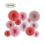 Decorazioni di carta a ventaglio da appendere, ghirlande rotonde per compleanni, matrimoni, laurea, eventi, set da 12 Rosso