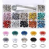300 Piezas Kit de 5mm Ojales Metalicos de Multicolor Artesanía con Herramientas de Instalación, Adecuado para Zapatos, Sombreros, Cinturones, Ropa, Bolsos (10 Colores)