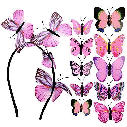 Diadema con Mariposas + 10 Horquillas de Mariposas Mujer Niña para el Pelo Adornos Accesorios para el Cabello Boda Fiesta Disfraz Rosa