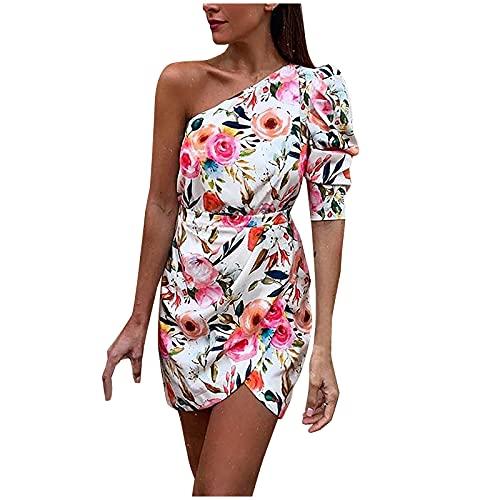 sunnymi Modieuze jurk mooie jurk jurk jurk dames vrouwen bodycon jurken één schouder met taille riem lichtblauw jurk vrouwen zomer casual print heuprok dunne jurken