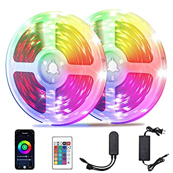 Keyfill 65.6ft Alexa LED Strip Lights Smart WiFi LED Strip Lights Compatible with Alexa Google Assistant Music Sync RGB Color Remote APP Control Lighting Kit for Bedroom Living Room Kitchen