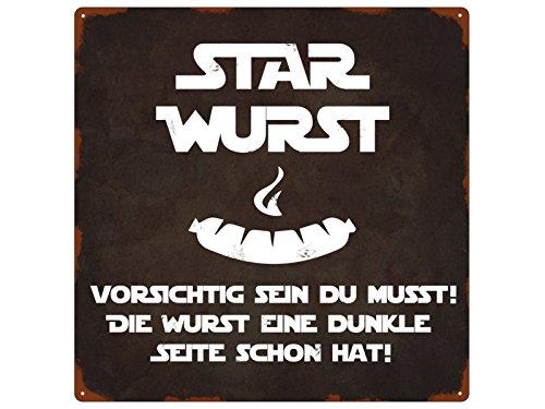 Interluxe 20x20cm METALLSCHILD Türschild Star Wurst Grillen Spruch Lustig Terrasse Deko