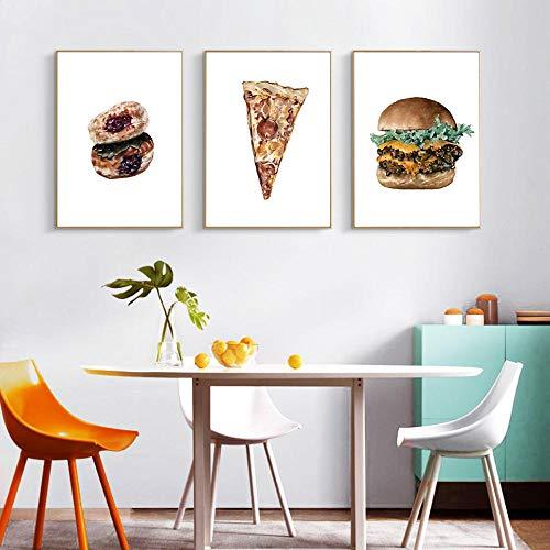FYBSNDY Nordic Food Bauernhaus Dekor Pizza Poster Und Druck Hamburg Kunst Leinwand Malerei Küche Wandbild Für Esszimmer Ungerahmt 30 cm X 50 cm X 3
