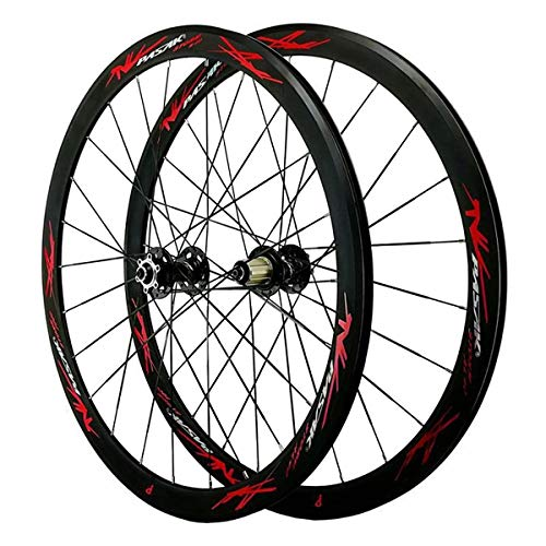 ZCXBHD 700C Disc Brake Road Bike Wheelset Cyclocross Road Front and Rear Wheel V/C Brake 7 8 9 10 11 12 Speed Flywheel Quick Release 40MM (Color : Red)