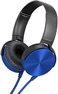 Perfk 3.5mm Over-Ear Headphones with Microphone, Hi-Fi Stereo Foldable Headset for Laptop Mobile Phone Tablets - Blue