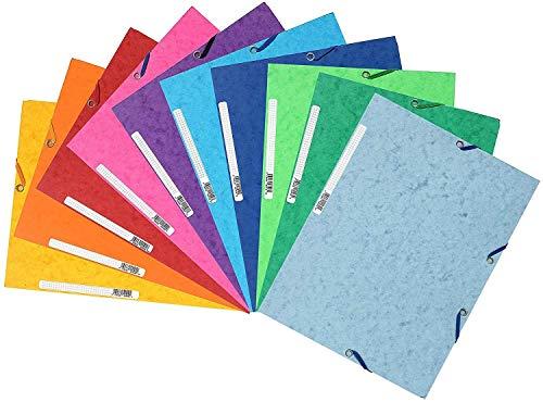 Exacompta 55510E Packung (mit 10 Sammelmappen Manila-Karton, 400 g/m2, 3 Klappen, Gummizug, Etikette, DIN A4) 10er Pack farben sortiert