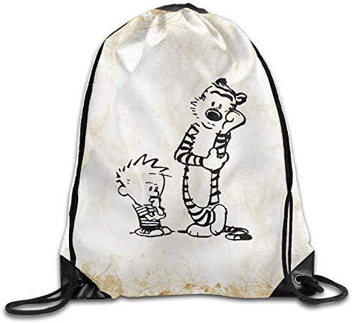 engzhoushi Sacs à Cordon,Sac de Rangement Imperméable Tiger Calvin and Hobbes Training Gym Drawstring Backpack Sack Bag
