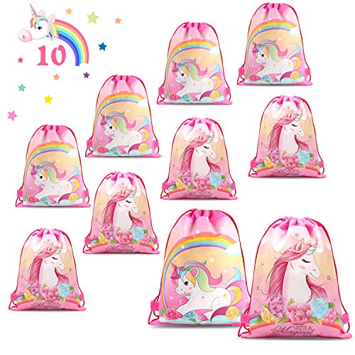 PHOGARY 10 Pack Unicorn Party Favor Bags for Kids, Girls Drawstring Gift Bags Birthday Party Supplies Goodie Favor Bags, Double Side Printed