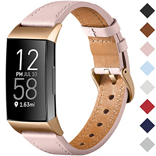 CeMiKa Strap Compatible with Fitbit Charge 4 Strap/Fitbit Charge 3 Strap, Genuine Leather Strap Replacement Wristband for Charge 3/Charge 4 Tracker, Pink/Rose Gold
