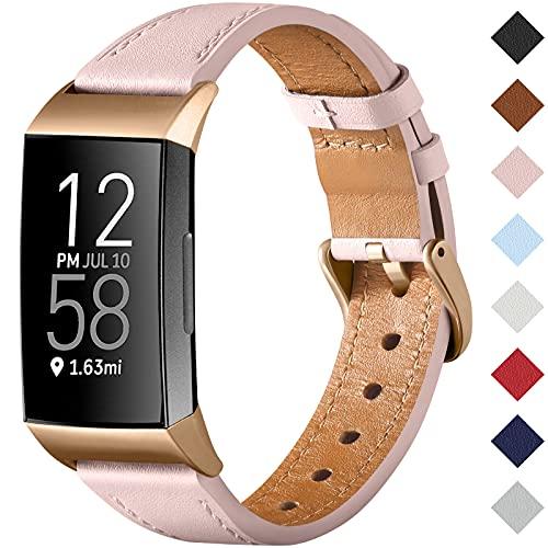 CeMiKa Cinturino Compatibile con Fitbit Charge 4 Cinturino/Fitbit Charge 3 Cinturino, Cinturino Sostitutivo Cinturino in Vera Pelle per Tracker Charge 3/Charge 4, Rosa