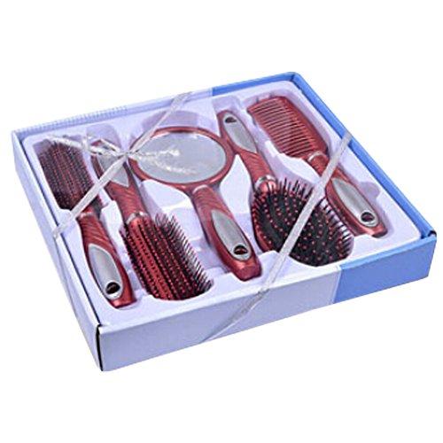Premium Durable Hair peigne Afro Pick Anti-statique peignes anti-statique, 5 PCS, rouge vin