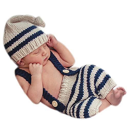 Binlunnu Newborn Baby Photography Props Boy Girl Crochet Costume Outfits Cute Hat Pants