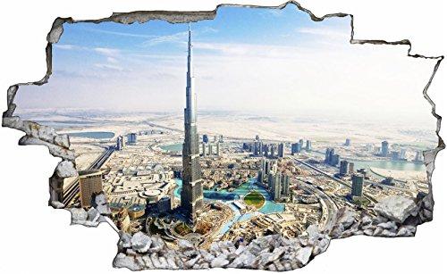 DesFoli Dubai Burj Khalifa Stadt City Skyline Vereinigten Arabischen Emirate 3D Look Wandtattoo 70 x 115 cm Wandbild Sticker Aufkleber C005