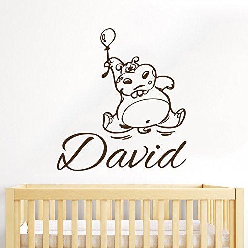 Hippopotame Sticker mural personnalisable Nom personnalisé cadeau enfant Hippopotame Ballon chambre de garçon et de fille Wall Sticker vinyle-Sticker Mural-décor style