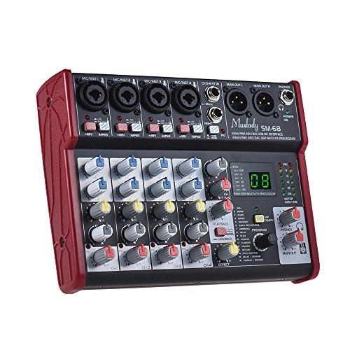 Muslady Mixing Console Mixer SM-68 Tragbare 6-Kanal-Soundkarte Eingebaute 16 Effekte mit USB Audio Interface Unterstützt 5V Power Bank für die Aufnahme von DJ Network Live Broadcast Karaoke