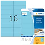 HERMA 4553Color etiquetas despegable, (105x 37mm a DIN A4Papel mate, autoadhesivos) 320unidades en 20hojas imprimibles, Azul