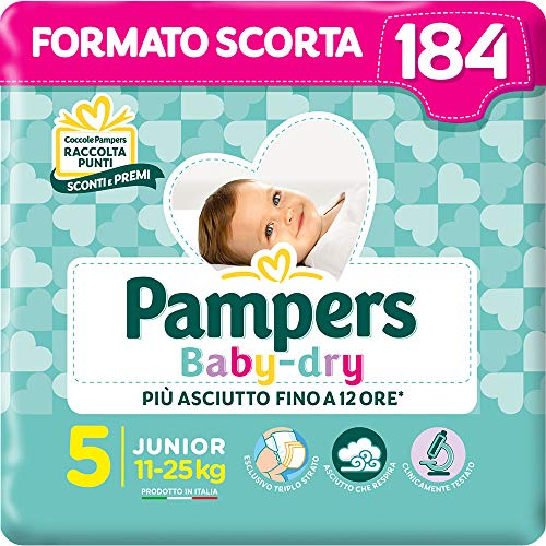 Pampers Baby Dry Junior, 184 Pannolini, Taglia 5 (11-25 kg)