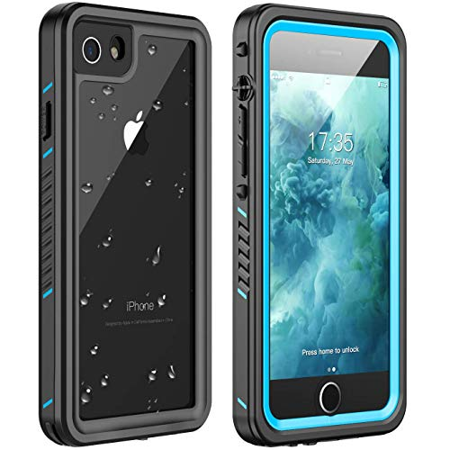 iPhone 7 Waterproof Case,iPhone 8 Waterproof Case. Huakay Full Body 360° Protective Shockproof Dirtproof Sandproof IP68 Phone Case for iPhone 7/iPhone 8 (4.7') (Blue/Clear)