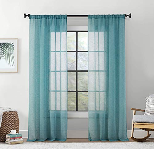 HLC.ME Penelope Faux Linen Textured Semi Sheer Privacy Sun Light Filtering Window Floor Length Pocket Hole Thick Curtains Drapery Panels Master Bedroom & Living Room, 2 Panels (54 W x 84 L, Teal Blue)