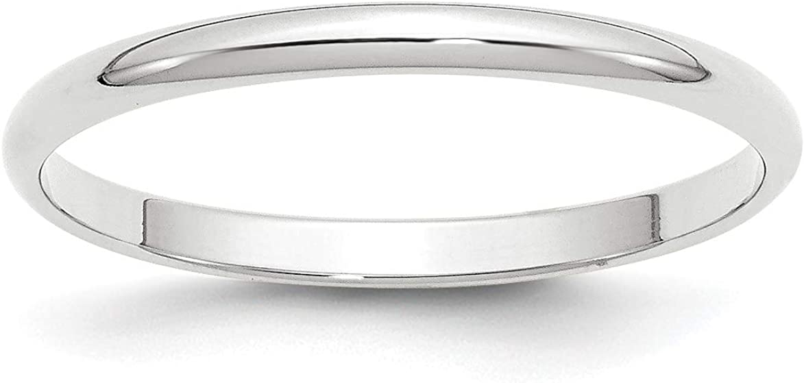 Solid 14k White Gold 2 mm Rounded Wedding Band Ring