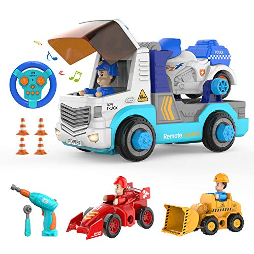 DEERC Remote Control Car 3 in 1 Take Apart Toys with Electric Drill,2.4GHz RC Cars STEM Construction Building Truck,Assembly Trucks with Lights Music,City Service Vehicle Set Gifts for Kids Boys Girl