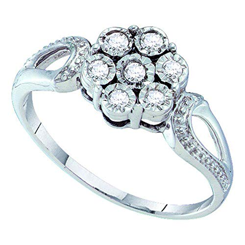 Dazzlingrock Collection Sterling Silver Womens Round Diamond Illusion-set Flower Cluster Ring 1/8 ctw