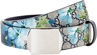 7e159657fe2 Gucci Unisex Silver Buckle Blue GG Supreme Coated Canvas Bloom Print Belt  424674 8499