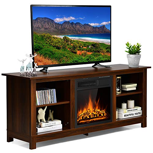 Tangkula Fireplace TV Stand for TVs up to 65 Inches, 58 Inches Media Console Table w/ Fireplace, 1500W Electric Fireplace Stove TV Storage Cabinet w/Remote Control, Adjustable Brightness & Heat