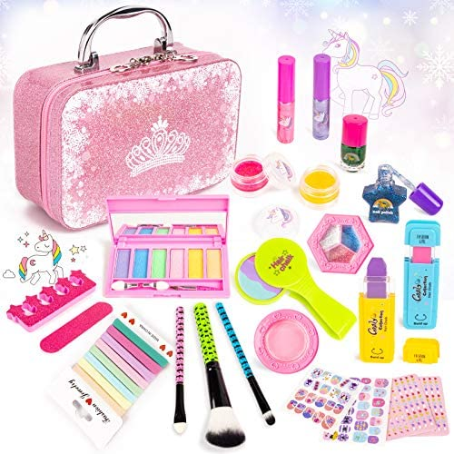 KIDCHEER Kids Makeup Kit for Girls 31Pcs Washable Real Play Make Up Toys Set with Cosmetic Case product image