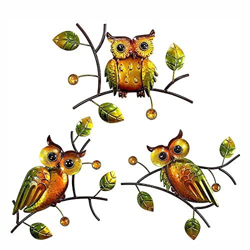 OMKMNOE Decoración Pared Búho Jardín, Colgante Pared Pared Al Aire Libre Metal Owl Decoración Arte Pared para El Jardín Cerca Lava Sala De Estar Comedor 3Pc, Amarillo