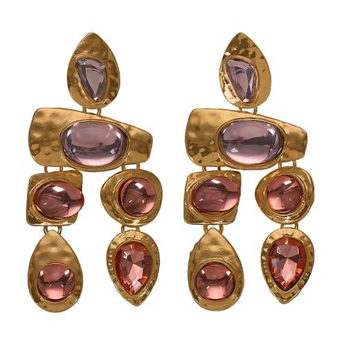 Nupcial lágrima caída flor racimo pendientes de diamantes de imitación de cristal (pink)