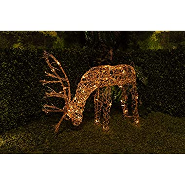 Alpine Corporation 25  Grazing Rattan Reindeer with 50 Halogen Lights (Plug in)