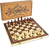 Handmade Chess Set: This Beautiful Folding CHESS SET has a Walnut and Sycamore Inlaid Chess Board with excellent surface finish, smooth surface and durability, exquisite craftsmanship and high quality Magnetic Chess: Unique magnetic folding Chessboar...